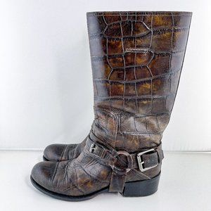 Christian Dior Croc Embossed Leather Biker Boots